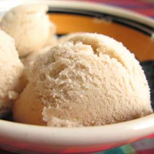 Scoops of coconut vanilla ice cream (square)