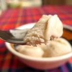 A spoonful of decadent coconut vanilla ice cream (square)