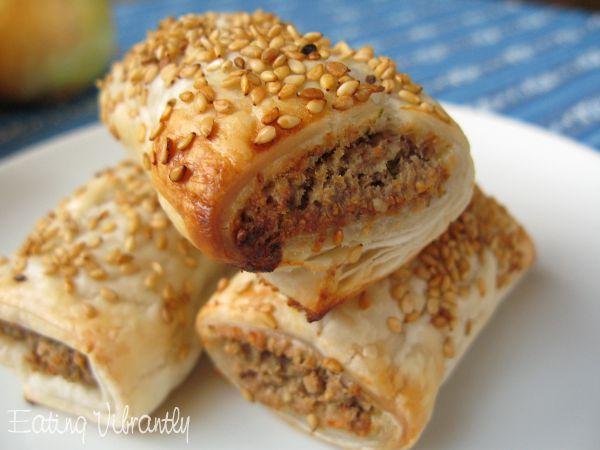 Vegan sausage rolls closeup