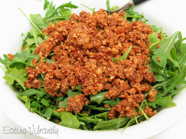 Raw taco salad rocket and meat