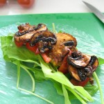 Rice paper wrap with marinated mushrooms (square)