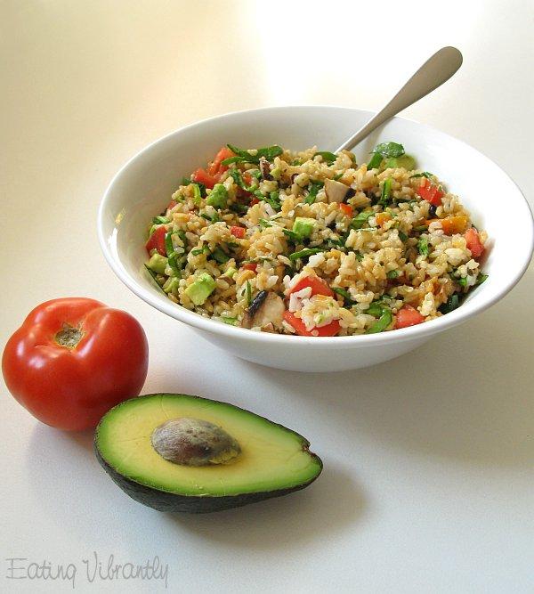 High raw rice salad