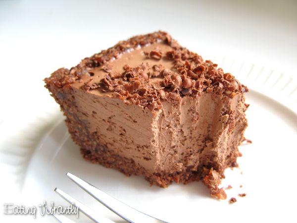 Raw vegan chocolate cheesecake piece