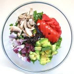 Hearty Green Salad with Avocado and Mushroom
